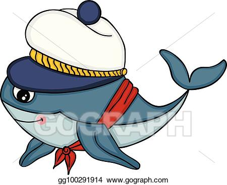 Vector cute with hat. Clipart whale sailor