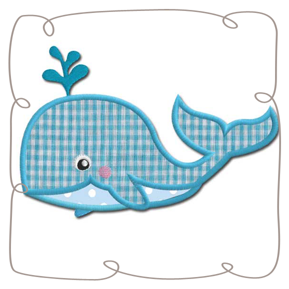 Applique machine embroidery design. Clipart whale turquoise