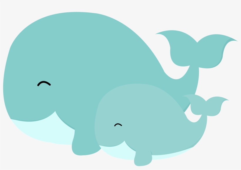 Marine mammal manatee illustration. Clipart whale turquoise