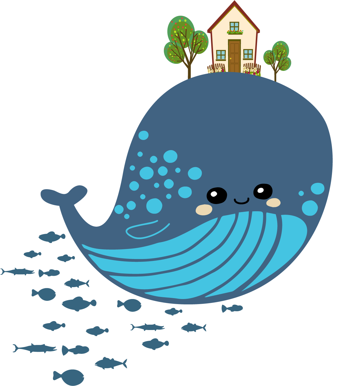 Cartoon drawing blue whale. Hut clipart chinese hut