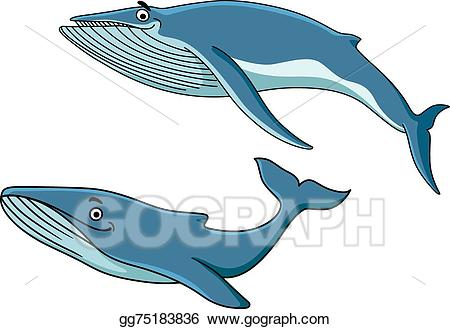 Clipart whale whale swimming. Vector stock blue whales