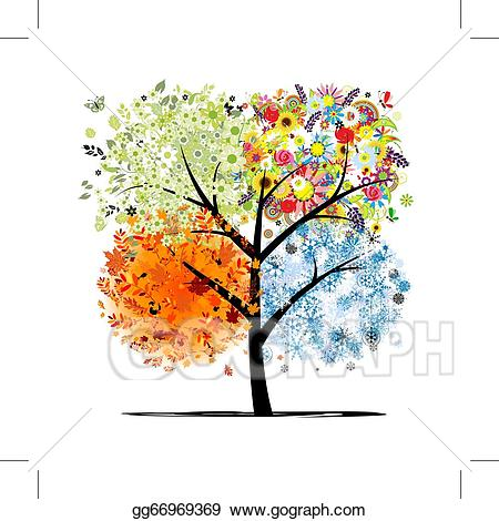 Eps vector four seasons. Winter clipart autumn