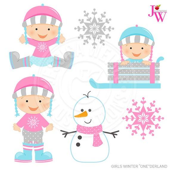 Clipart winter baby. Girls onederland digital commercial