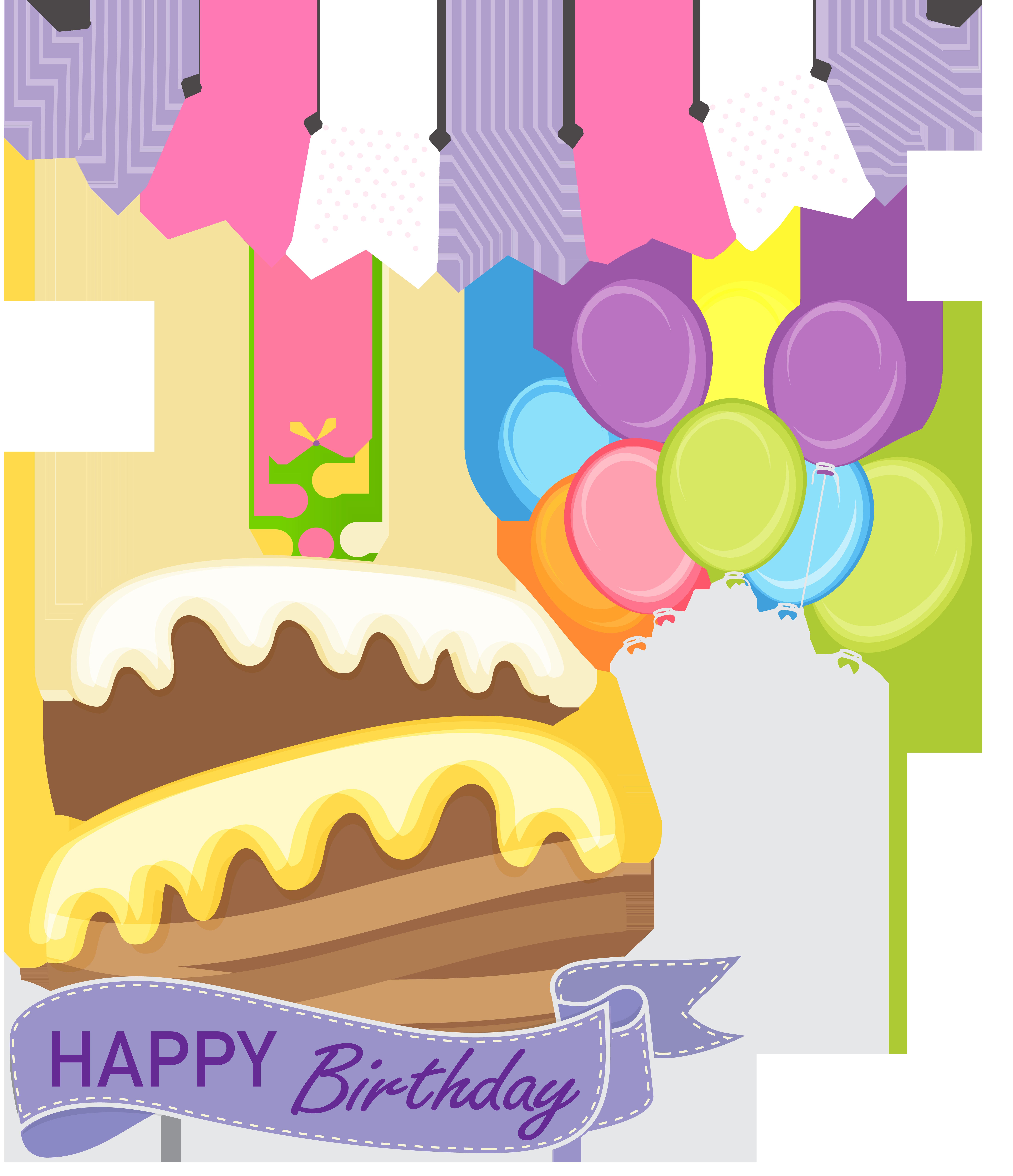 Happy birthday cake png. Dessert clipart purple