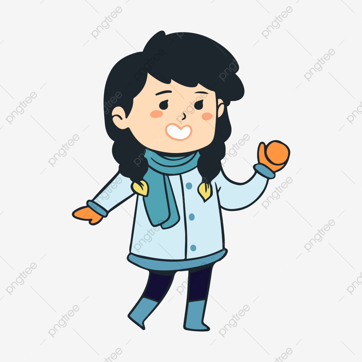 Snowy day snow outdoor. Clipart winter character