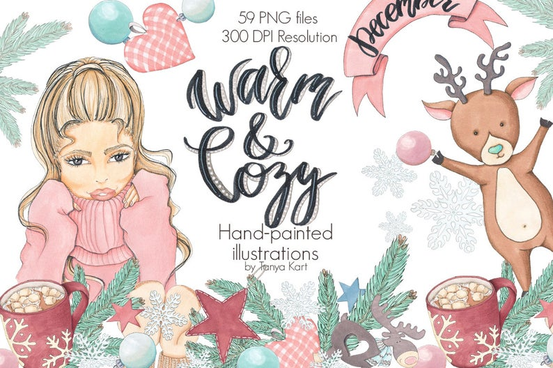 Warm and christmas december. Clipart winter cozy