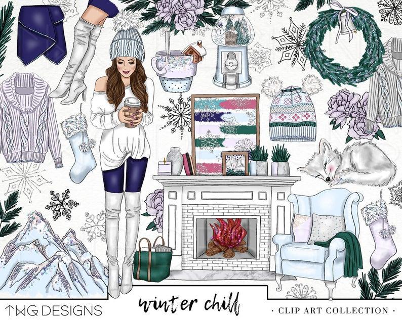 Clipart winter cozy. Fashion girl clip art