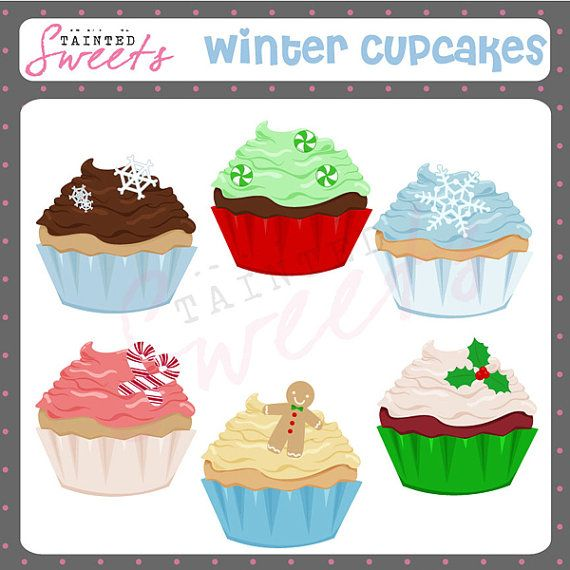 Cupcakes clipart winter. Clip art set by