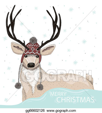 Eps vector cute with. Deer clipart winter