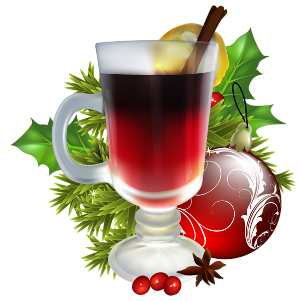 Christmas tea with decorations. Winter clipart drink