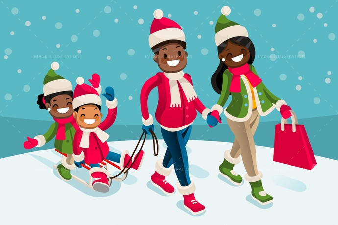 Vacations isometric people black. Clipart winter family