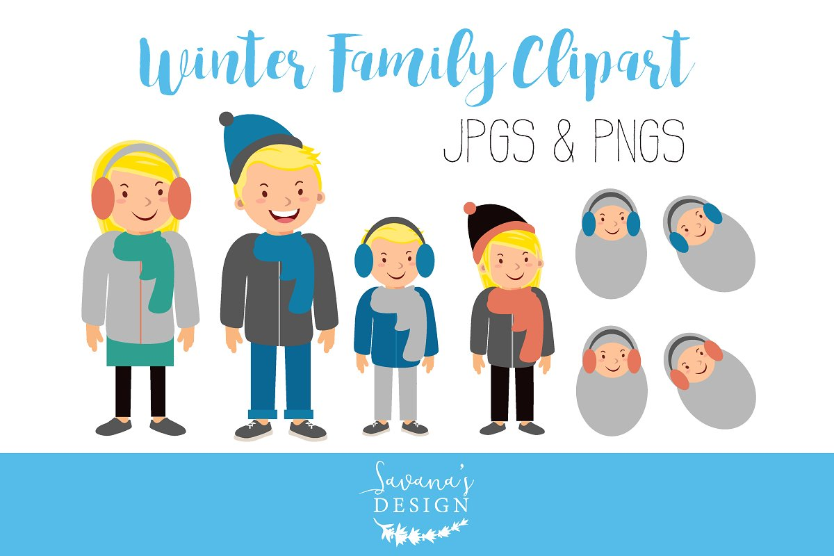 Blonde illustrations creative market. Clipart winter family