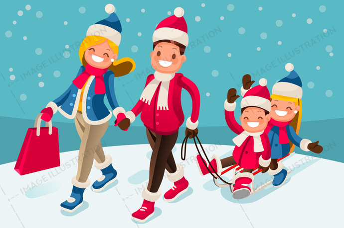 Winter clipart family. Happy in holidays isometric