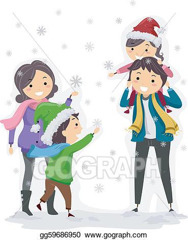 Eps vector stock illustration. Clipart winter family