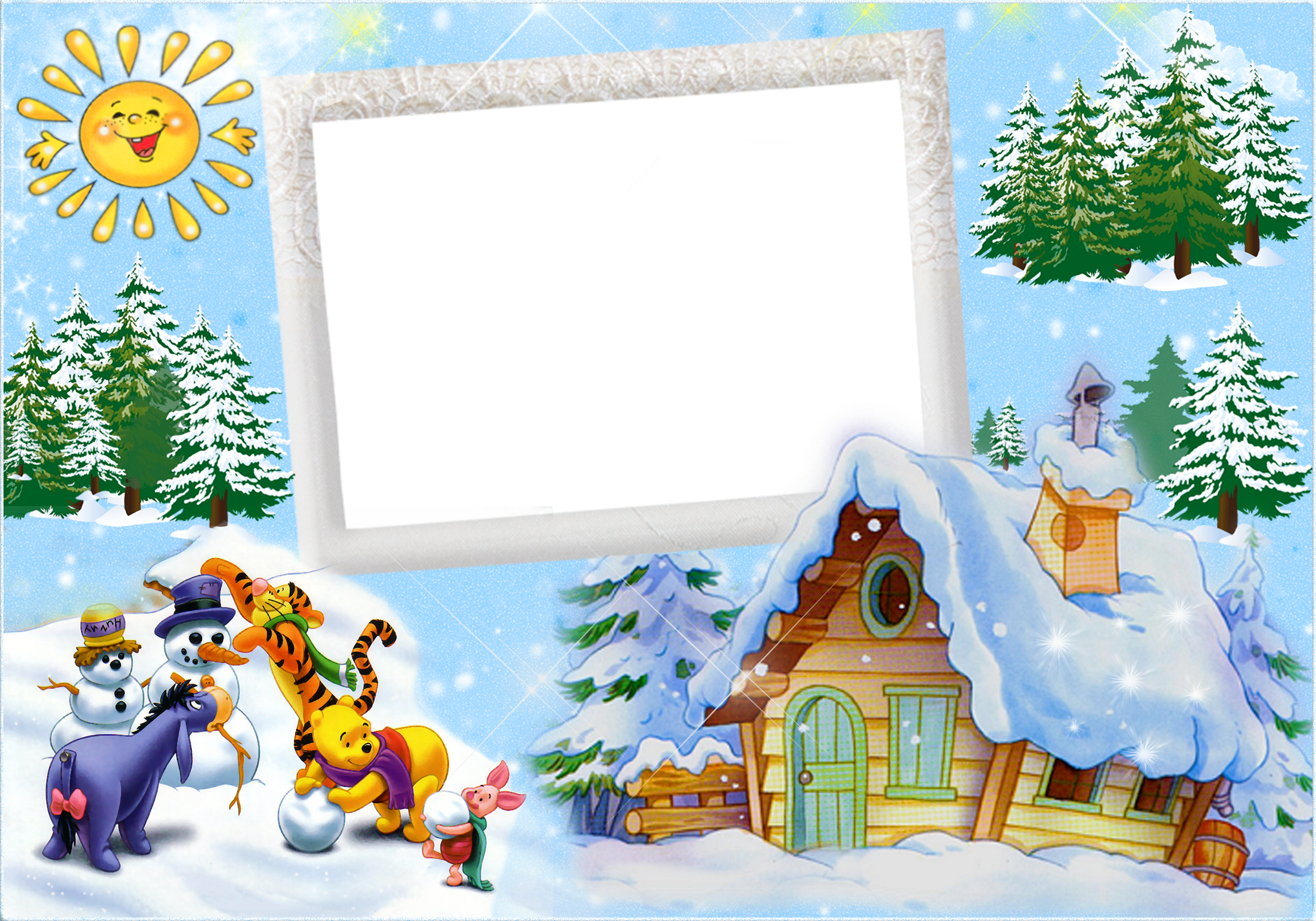 Clipart winter frame. Christmas kids with winnie