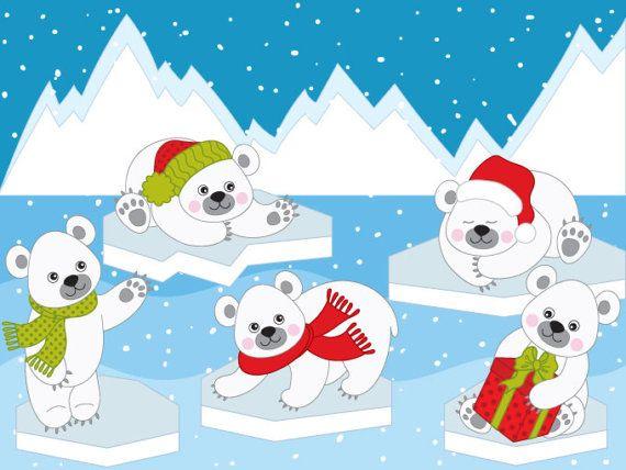 Polar bears digital vector. Clipart winter item