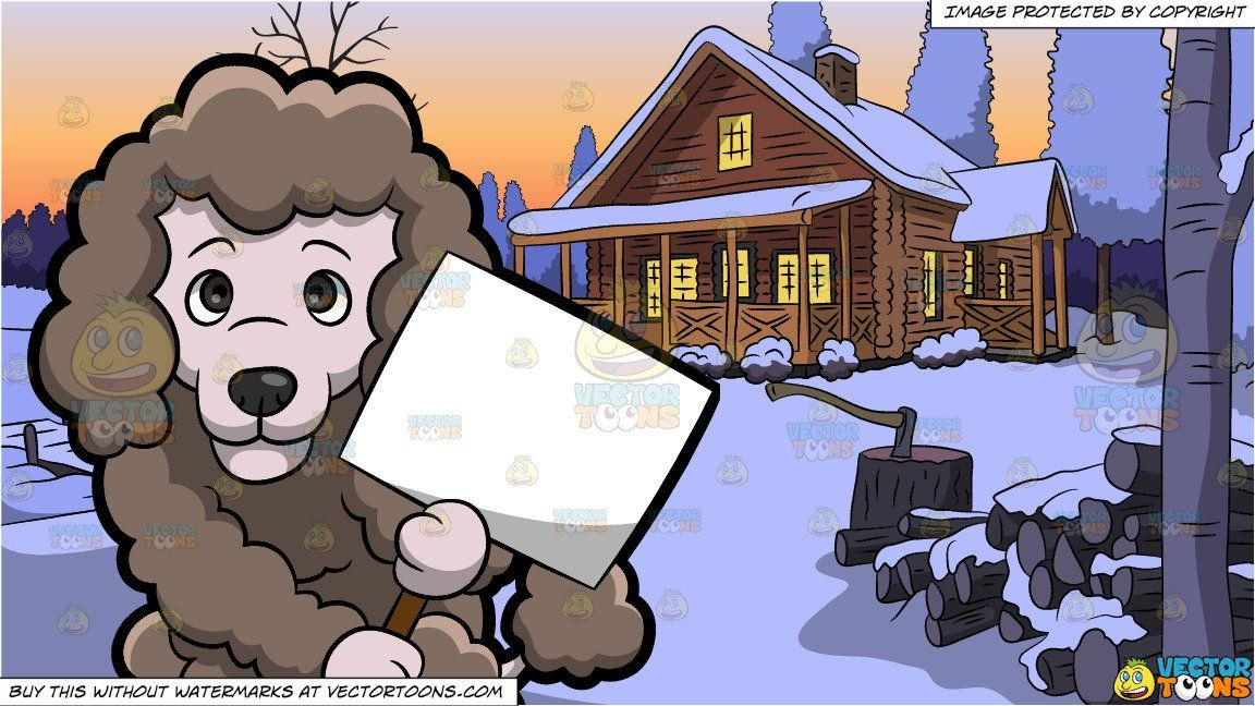 Clipart winter lake. A poodle with cardboard
