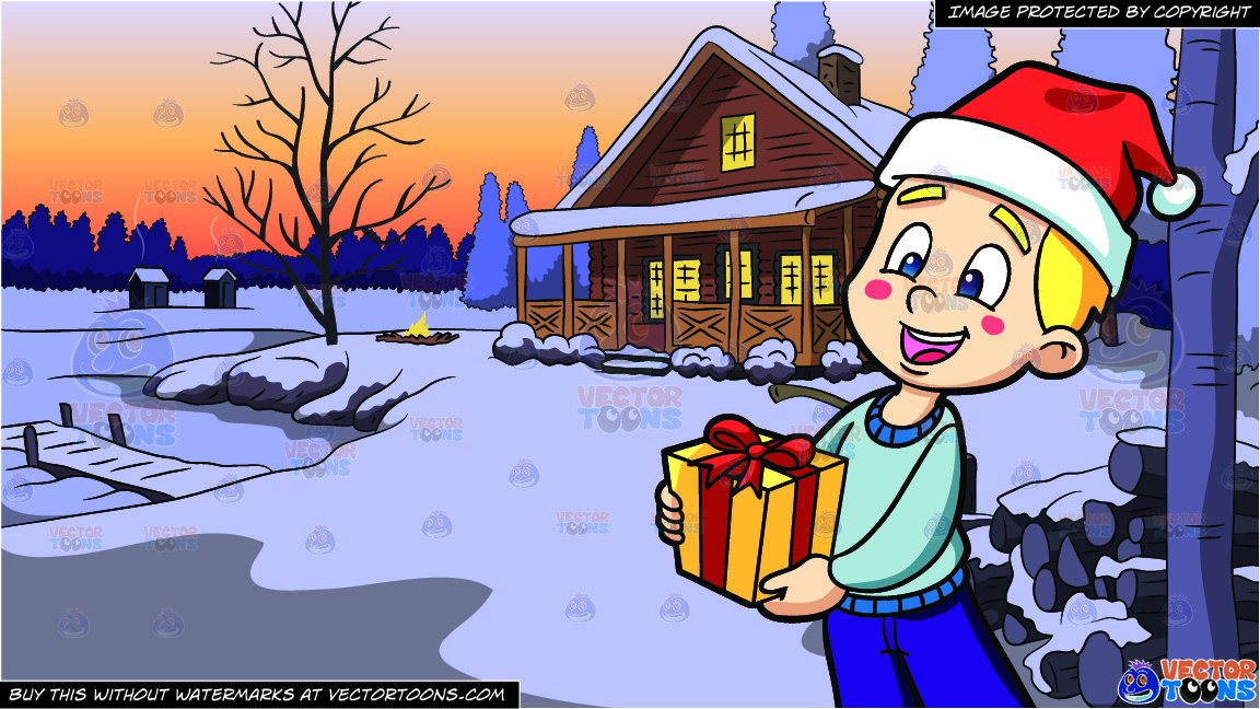 A boy handling christmas. Clipart winter lake
