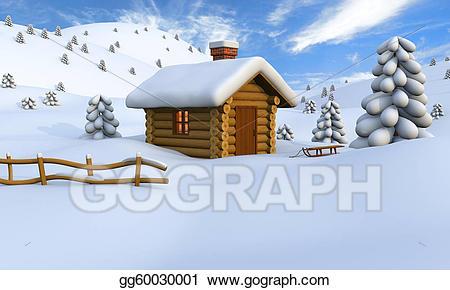 Stock illustrations in . Winter clipart log cabin