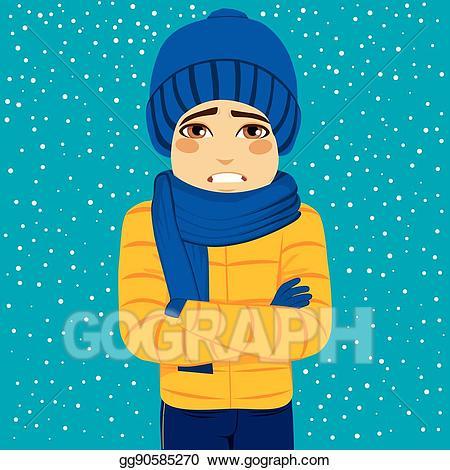 Clipart winter man. Vector illustration shivering eps
