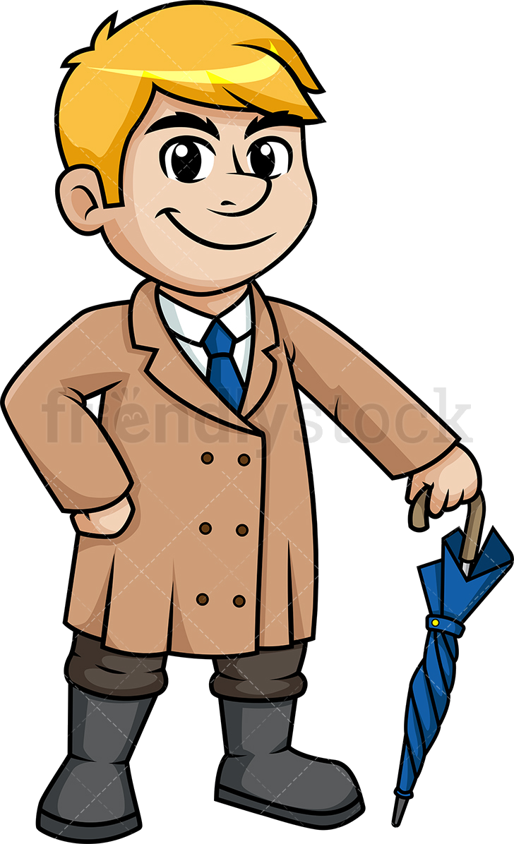 Clipart winter man. Coat wearing trench in