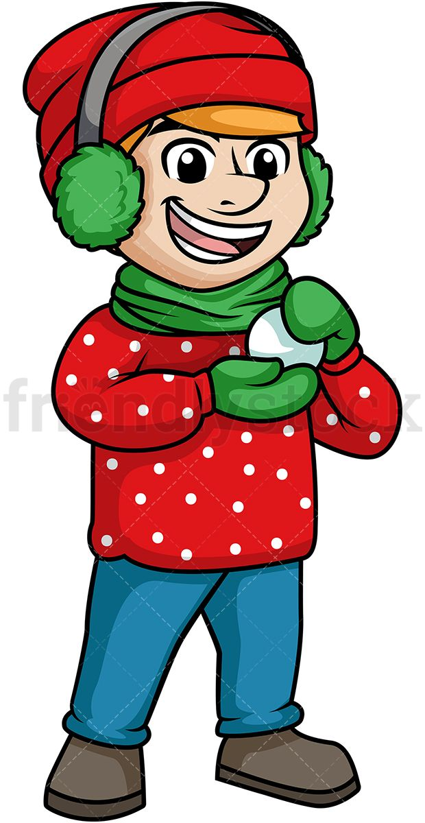 Making a snowball painted. Clipart winter man