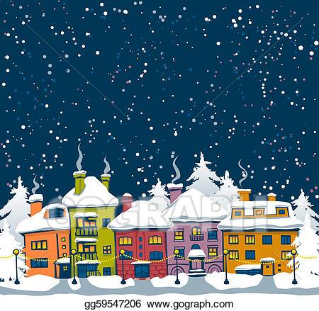 Vector art drawing gg. Winter clipart town