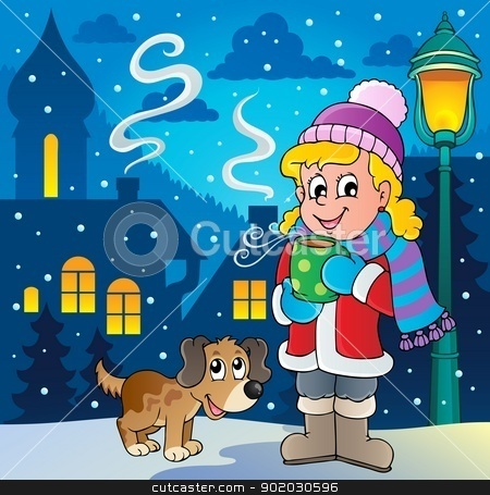 Cartoon image stock vector. Clipart winter person