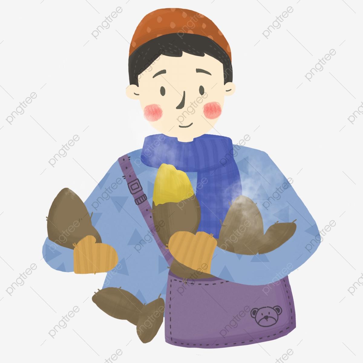 Cartoon hand drawn boy. Clipart winter person