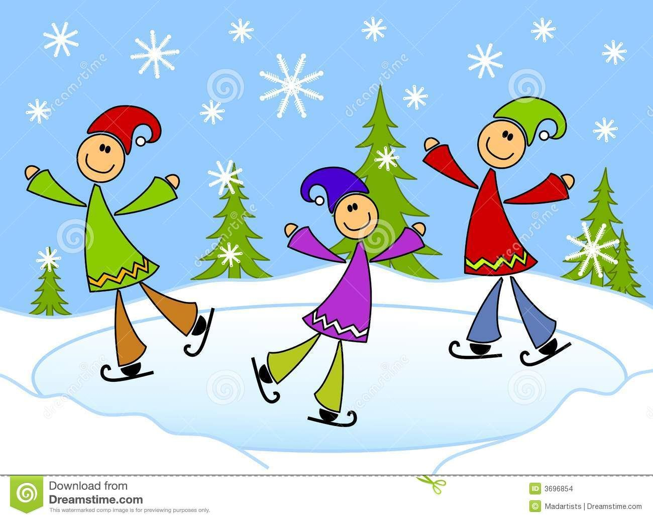 Cartoonish kids ice skating. Winter clipart pond