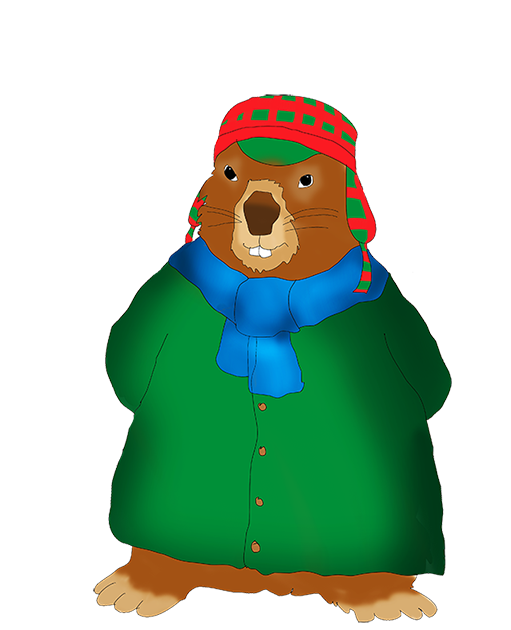 Groundhog winterdressed clip art. Winter clipart day