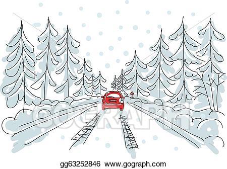 Vector art red car. Winter clipart road