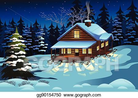 Eps vector cabin in. Winter clipart season