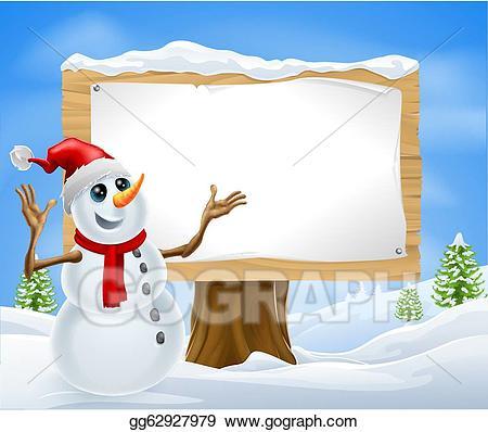 Eps illustration christmas snowman. Winter clipart sign