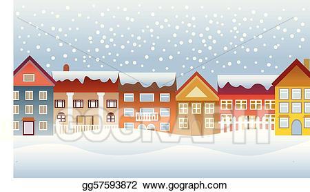 Winter clipart town. Vector art drawing gg