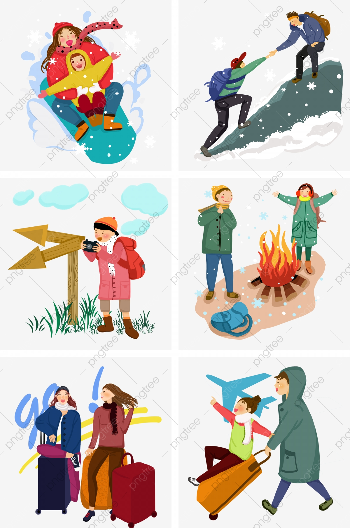 Character collection white snowflakes. Clipart winter travel