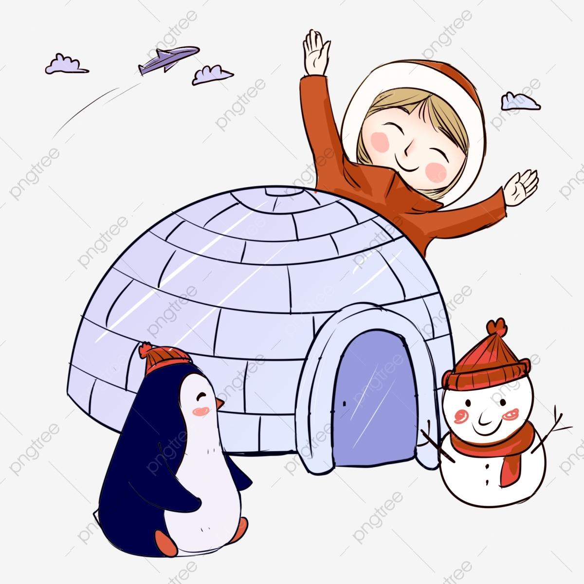 Clipart winter travel. Character illustration cute penguin