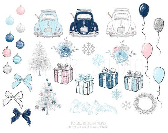 Clipart winter travel. Clip art illustration christmas
