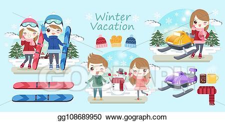 Vector illustration cartoon people. Clipart winter travel