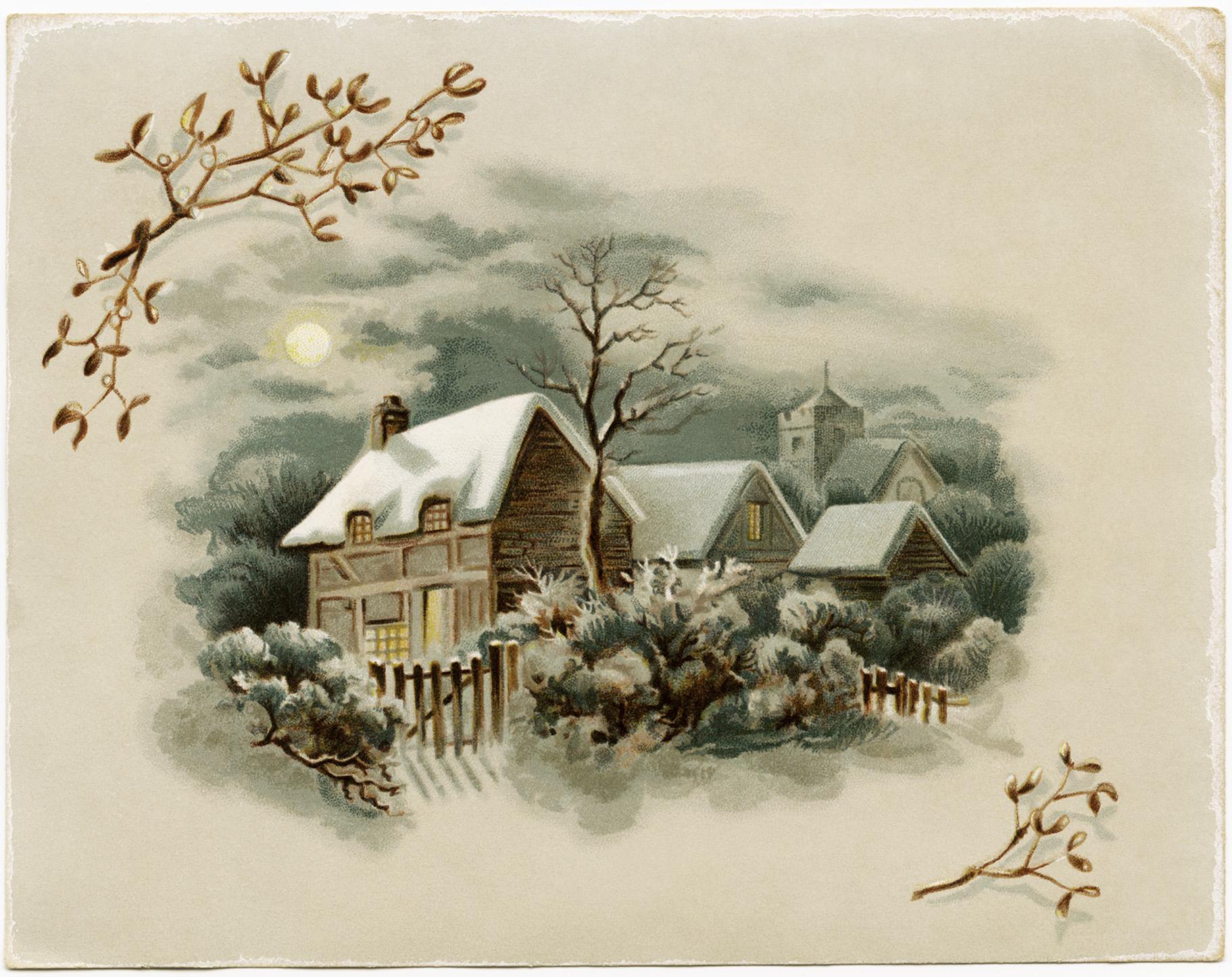 Scene card free download. Winter clipart victorian