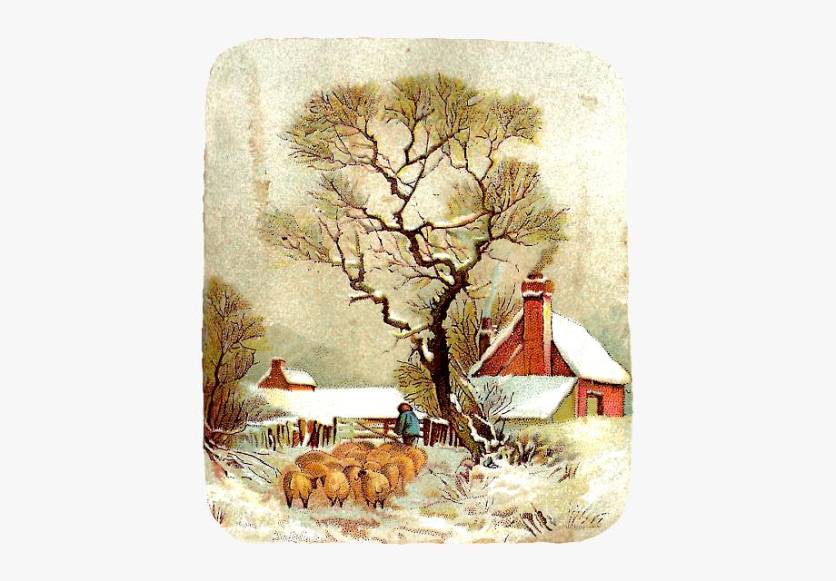 Christmas clip art landscape. Winter clipart victorian