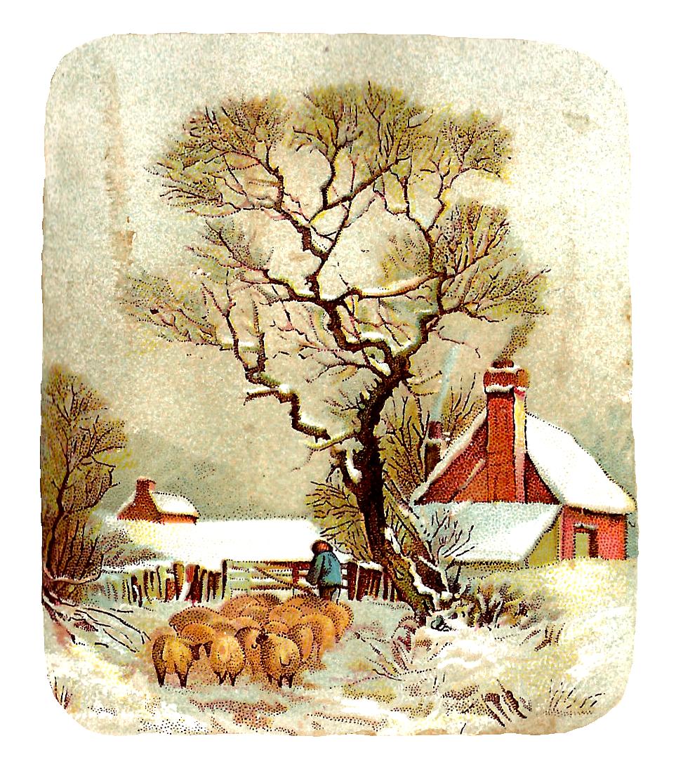 Vintage clip art scenes. Winter clipart victorian