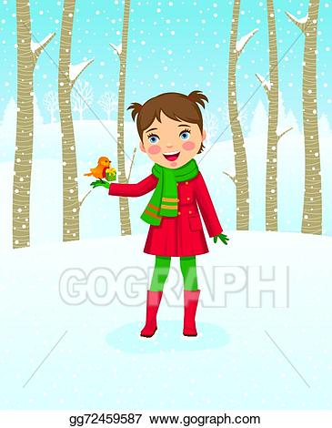 Winter clipart walk. Vector stock girl walking