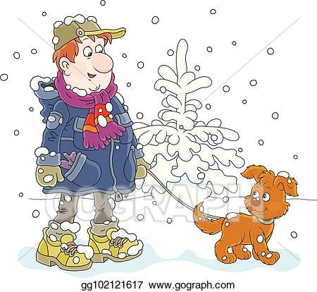 Vector stock with a. Clipart winter walk