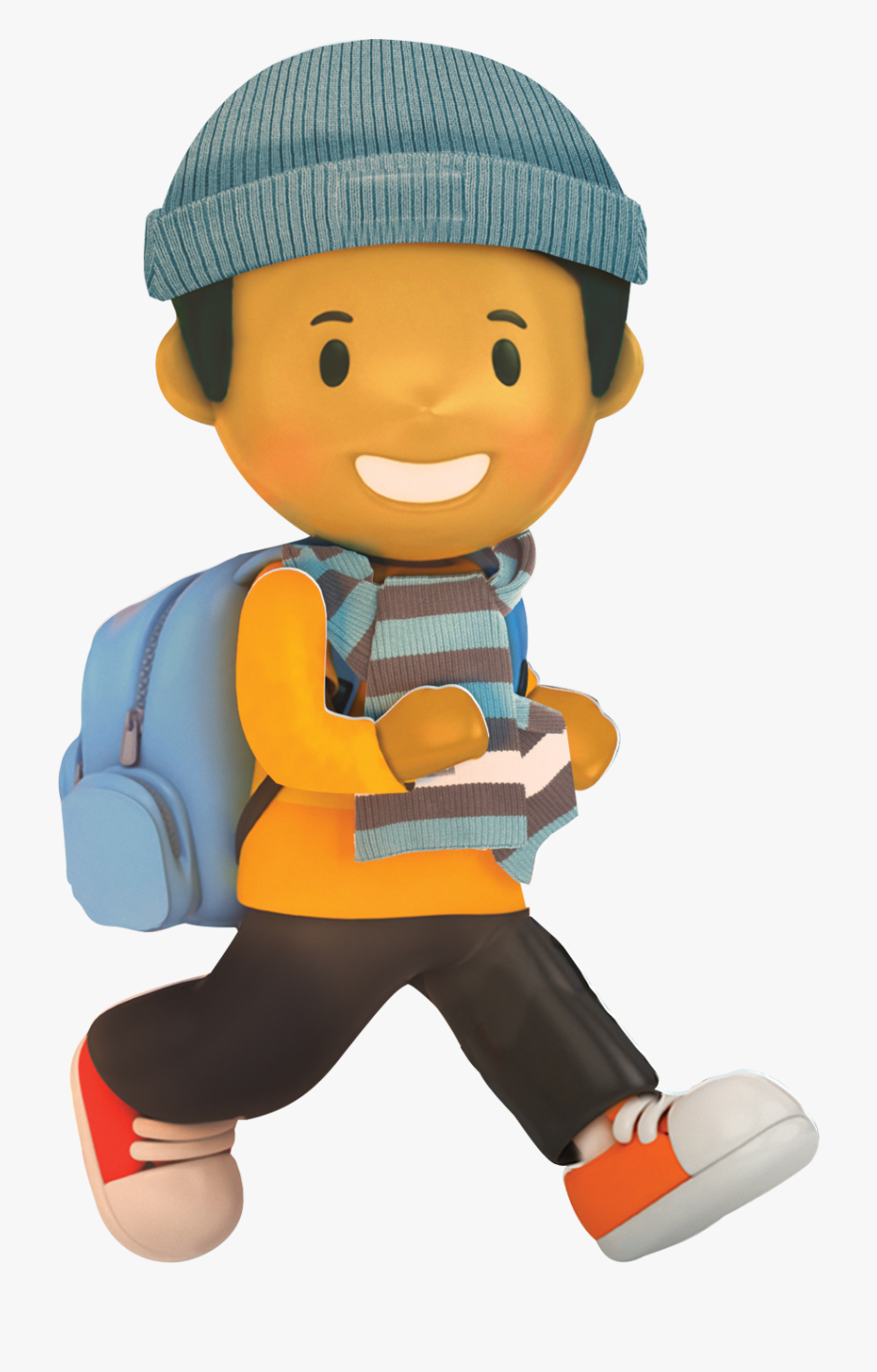 To school character boy. Winter clipart walk