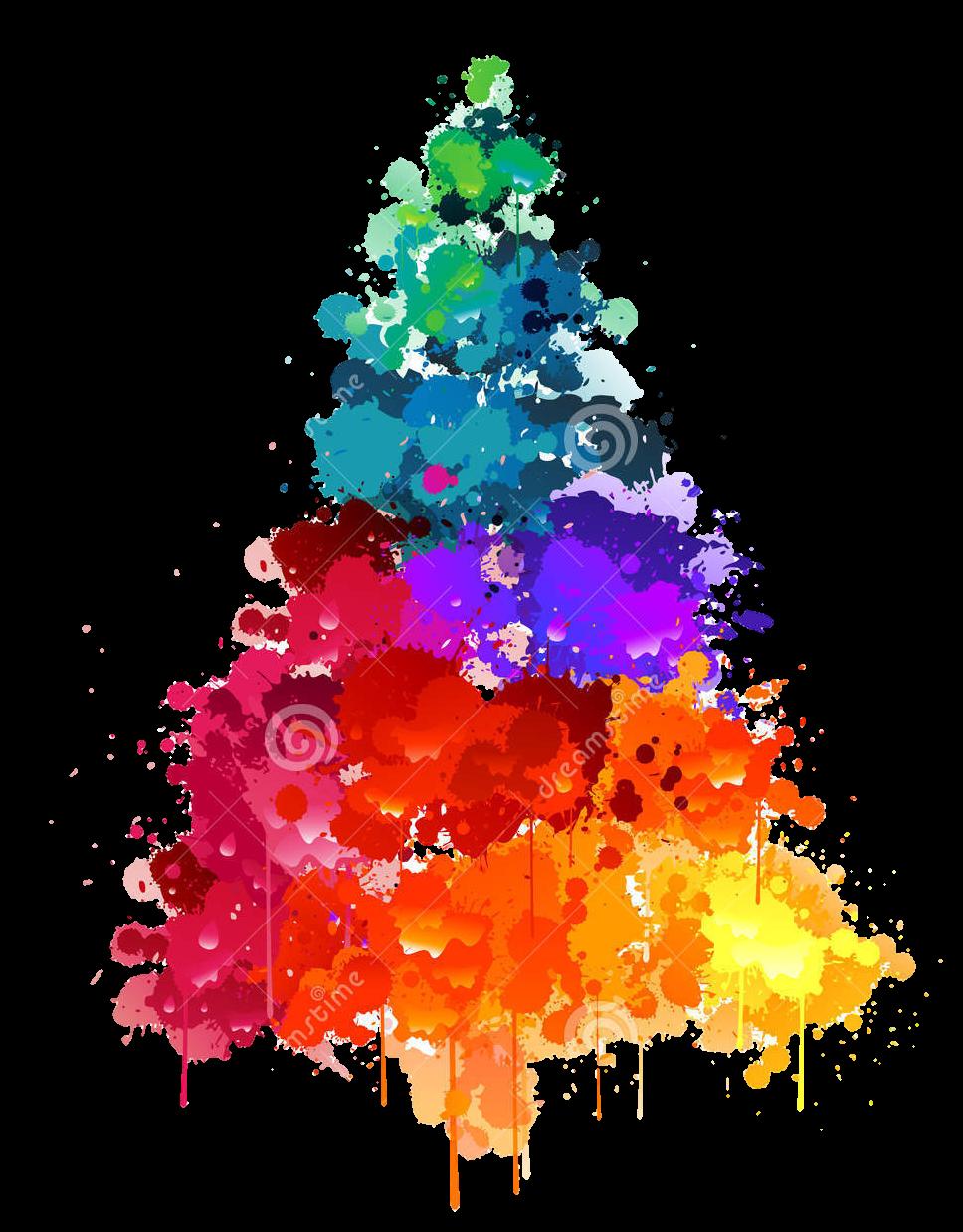 Christmas xmas tree multicolor. Clipart winter watercolor