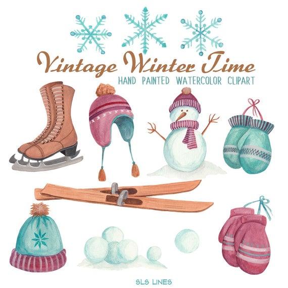 Set vintage style hats. Winter clipart watercolor