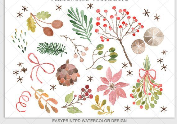 Christmas personal and . Clipart winter watercolor