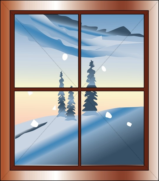 Scene from traditional christmas. Winter clipart window