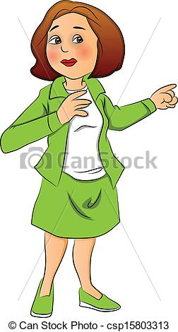 Clipart woman. Pointing